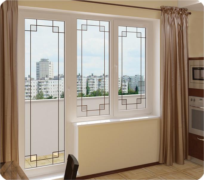 Дизайн окна с дверью на балкон